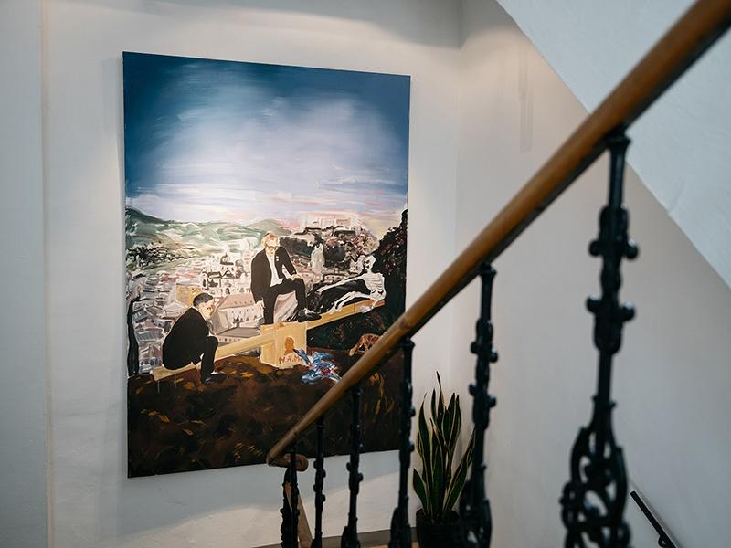 <i>Deutschbauer/Spring: Jedermanns Mozart in der Blauen Gans </i> (2006) pops against the hotel's historic minimalist walls. Photograph: artHotel Blaue Gans