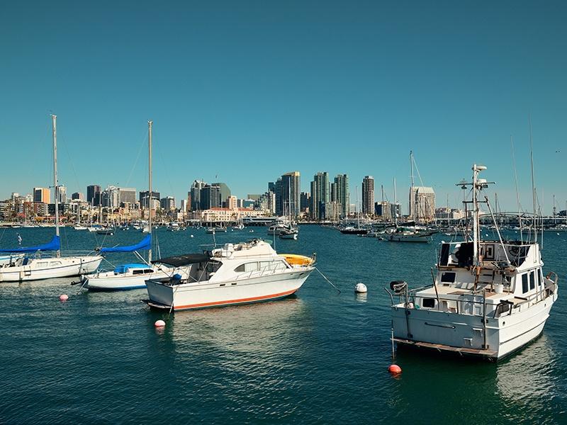 Fabulous views of the San Diego Bay skyline can be seen via a cruise or the Bayshore Bikeway in Coronado. Photograph: Shutterstock