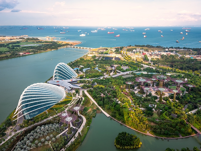 Singapore's Gardens by the Bay, a model of horticulture and garden artistry, comprise two carbon-neutral conservatories, a waterfront garden and promenade, and the Supertree Grove, with its towering vertical gardens. Photograph: Getty Images