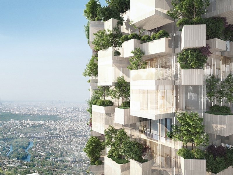 Stefano Boeri's Forêt Blanche in Villiers-sur-Marne, France, will have balconies on the four sides of the building, covered by 2,000 trees and plant life.