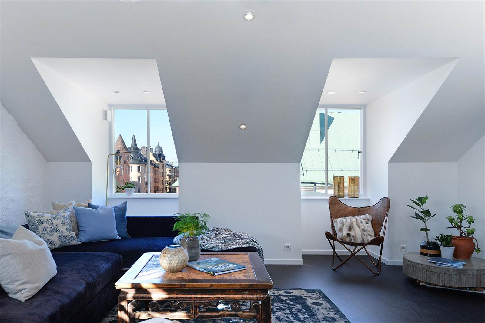 """This modern five-bedroom penthouse in Stockholm's Birkastans district overlooks the rooftops of Rörstrandsgatan, known to locals as """"Little Paris."""" The area is bike-friendly, with cycle lanes along all major streets."""