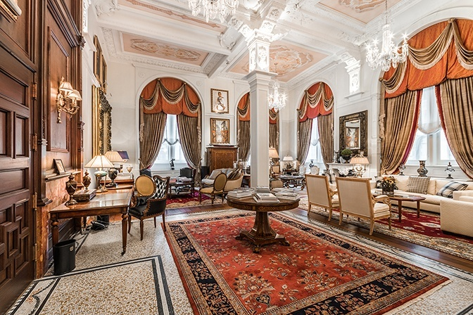 This stately apartment is one of a select few residences at the St. Regis, a grand circa-1894 building in the heart of Old Montreal.