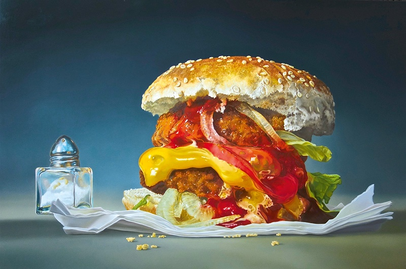 Working on a large scale allows Tjalf Sparnaay to explore every detail of an object, dissecting it layer by layer, as evident in <i>Big Burger</i> (2015).