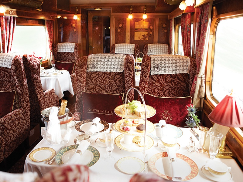Ensconced in finely upholstered seats, passengers taking the Northern Belle's daylong journeys in the UK can head to destinations such as the Roman walled city of Chester or the charming, cobblestoned Bath.