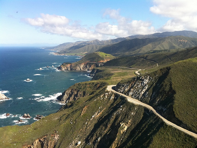 Route 1 along the Pacific coast traces dramatic bluffs, passing through iconic Californian cities on the way.