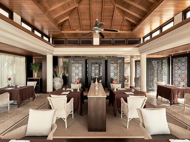 Trisara's Pru restaurant embraces farm-to-table dining, with ingredients sourced from the resort's own farm and local producers.