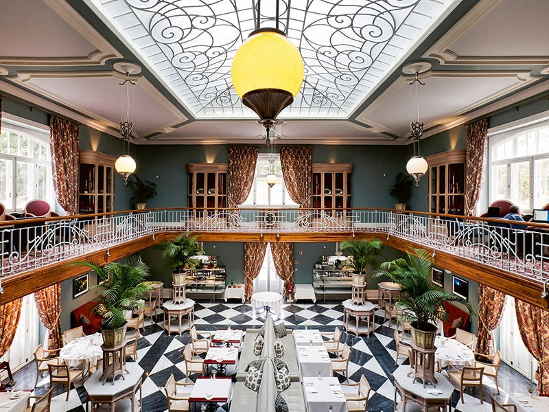 At the Vidago Palace, a breakfast of fresh pastries, fruit, and hot and cold specialties is served in the grand setting of the Winter Garden Room.