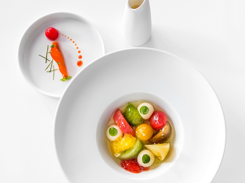 The menu at Villa René Lalique heavily features local and seasonal products, and diners will also find Klein's signature dishes—like Potato & Truffle Emulsion. Photograph: Richard Haughton