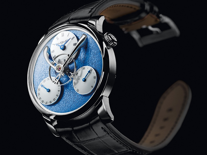 The dial of the LM SE by MB&F is set against a hand-frosted finish usually associated with antique pocket watches.