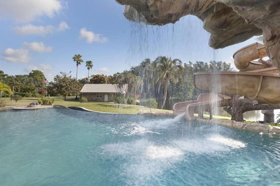 This lakeside estate in Florida is a 6.5-acre private family resort that has its own waterpark.