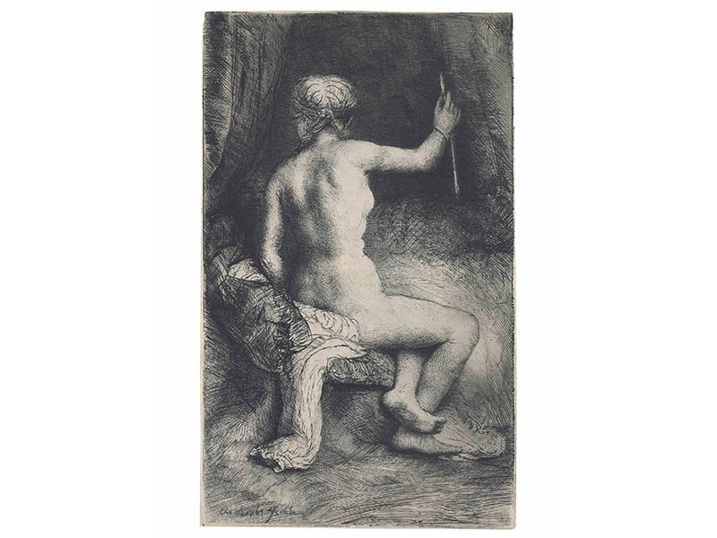 <i>The Woman with the Arrow</i> (1661), a fine impression of a very rare print by Rembrandt Harmensz. van Rijn, sold for £212,500 at Christie's in London in July 2016. © Rembrandt Harmensz. van Rijn/Christie's Images Ltd 2016