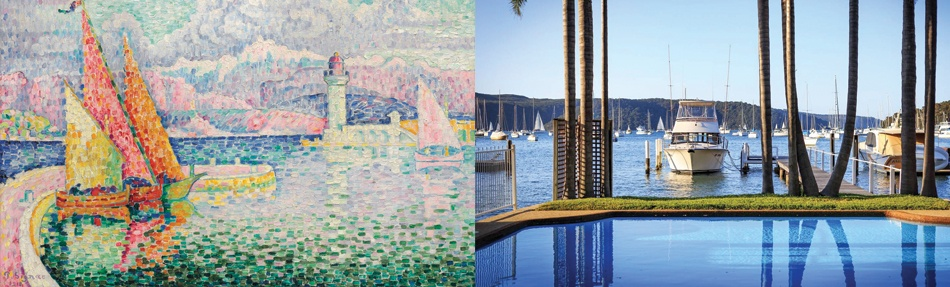 <i>Left: </i><b><a href=&quot;http://www.christies.com/lotfinder/paintings/paul-signac-le-musior-6073967-details.aspx &quot; target=&quot;_blank&quot;>LE MUSIOR (PORT D'ANTIBES)</b></a><br/>Paul Signac<br/>oil on canvas<br/><i>Price realized $3,943,500 USD</i><br/><br/><i>Right: </i><b><a href=&quot;http://www.christiesrealestate.com/eng/sales/detail/170-l-86-f1611031046700001/la-dolce-vita-mediterranean-inspired-waterfront-newport-sw-2106&quot; target=&quot;_blank&quot;>PARADISE ON THE WATER: 'LA DOLCE VITA'</b></a><br/>Classic Mediterranean home overlooking Pittwater<br/>Sydney, Australia</br><i>Asking price: POA</i>