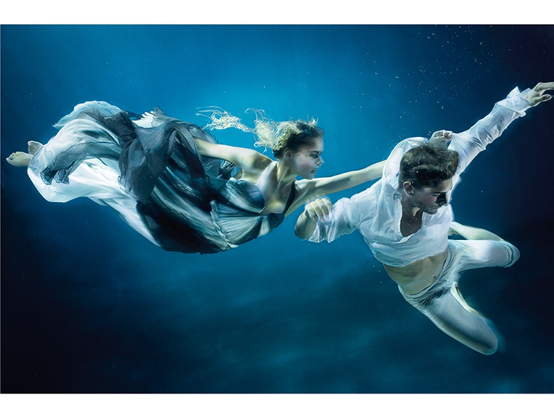 With this image, Holloway tells the story of sailors being lured by the sirens of the sea. The models in this shoot wore gowns by Hermès, Alexander McQueen, Versace, and Dior. Photograph: ©Zena Holloway