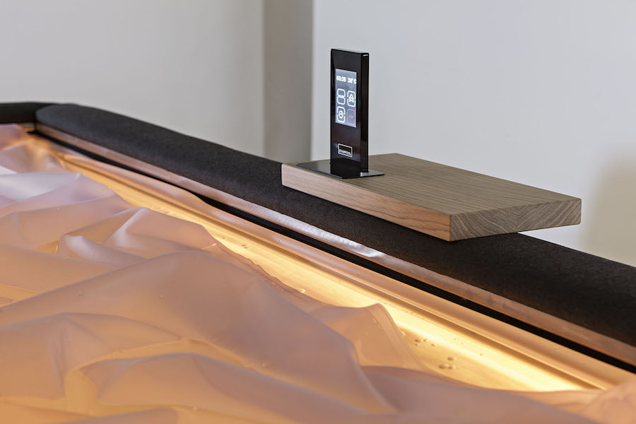 """The Zerobody """"pool"""" is a heated waterbed mattress that surrounds one with water, creating the relaxing sensation of floating alone in a private pool without getting wet."""