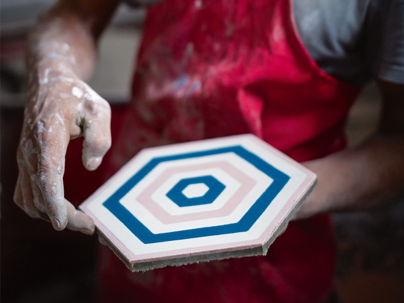 Combining the craft of traditional, handmade Moroccan tiles with bright, graphic motifs, Popham Design creates cement tiles that adorn luxury hotels, restaurants, and homes across the world, from San Francisco to Sydney. Photograph: Chris Terry
