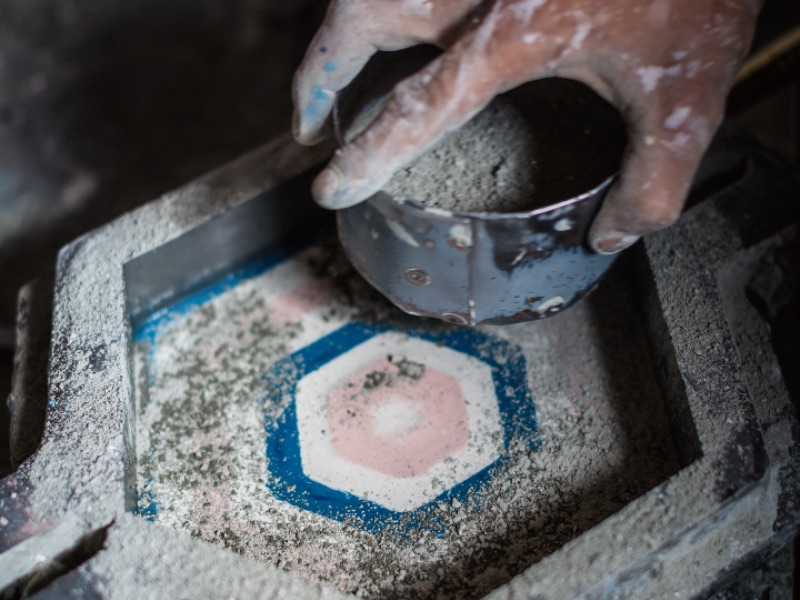 Each tile produced by Popham Design takes between two and four minutes to prepare. Photograph: Chris Terry