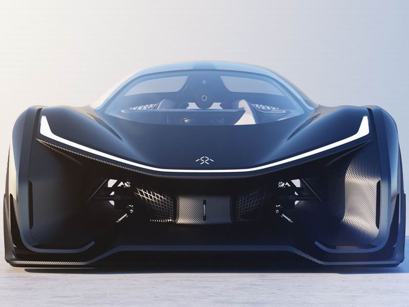 Faraday Future's FFZero is a battery-powered high-tech supercar with a streamlined carbon-fiber exterior that improves performance and energy efficiency.