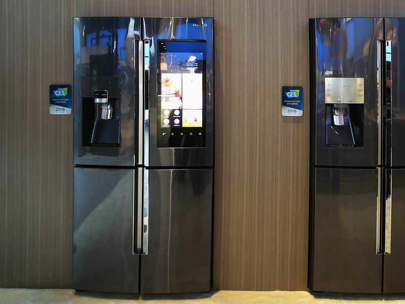 The Samsung Family Hub Refrigerator boasts a giant built-in touchscreen that can be used to create shopping lists, display photos from your phone, control your lights and thermostat, and much more. It also has cameras hidden inside the doorframe so you can see which supplies need replenishing.