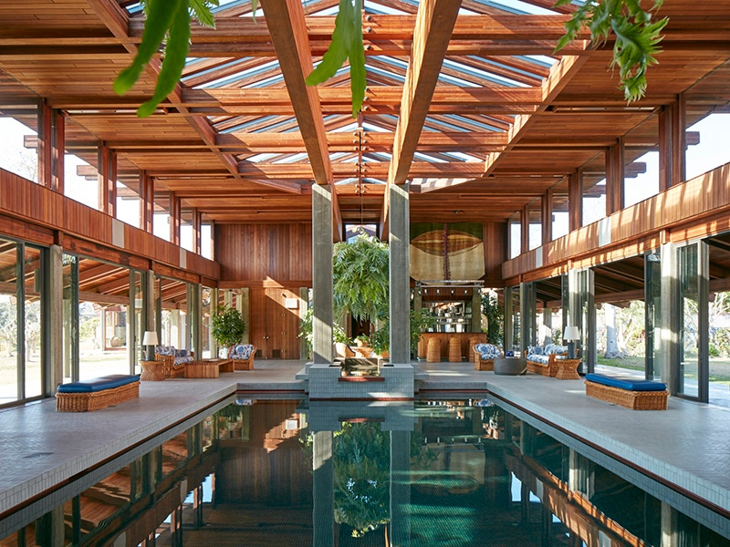 An entire wing of the house has been dedicated to an impressive pool and sumptuous spa. Photograph: Roger Davies