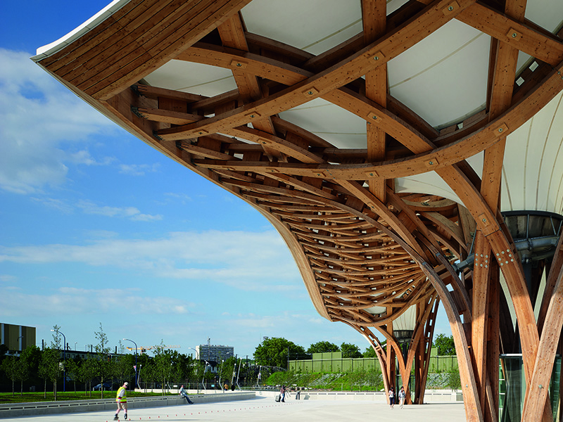 The roof of the Centre Pompidou-Metz, designed by Shigeru Ban, is made up of nearly 10 miles of laminated timber that forms hexagonal shapes made to resemble the pattern of a Chinese hat. Photograph: Didier Boy de la Tour