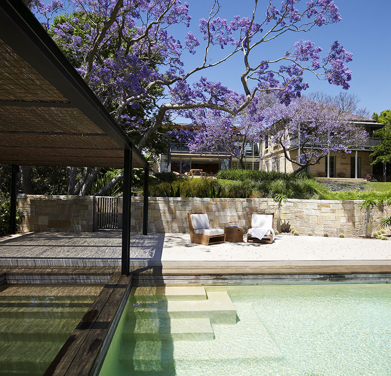 A pool pavilion, championship tennis court, trampoline platform, guesthouse and direct river access set the scene for relaxed living and entertaining. Photograph: Anson Smart