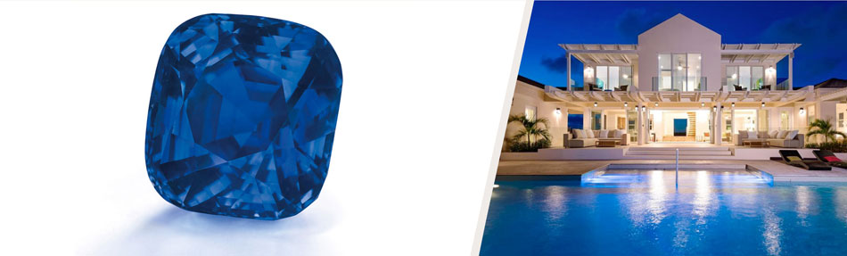 <i>Left: </i><b><a href=&quot;http://www.christies.com/lotfinder/jewelry/an-exceptional-sapphire-and-diamond-ring-5895246-details.aspx&quot; target=&quot;_blank&quot;>A CUSHION-SHAPED KASHMIRE SAPPHIRE RING OF 35.09 CARATS</b></a><br><em>Offered at Christie's Geneva Magnificent Jewels sale<br></em><strong>Estimate: $3,000,000 - $4,000,000</strong><br/><br/><i><br/>Right: </i><a href=&quot;http://www.christiesrealestate.com/eng/sales/detail/170-l-78215-1311271119156503/long-bay-beach-long-bay-pr-bwi&quot; target=&quot;_blank&quot;><b>VILLA ISLA ON LONG BAY BEACH</b></a><br/> Providenciales, Turks and Caicos Islands<br/><em>Offered by Regency International</em><br><strong>List price:&nbsp;$4,200,000</strong>