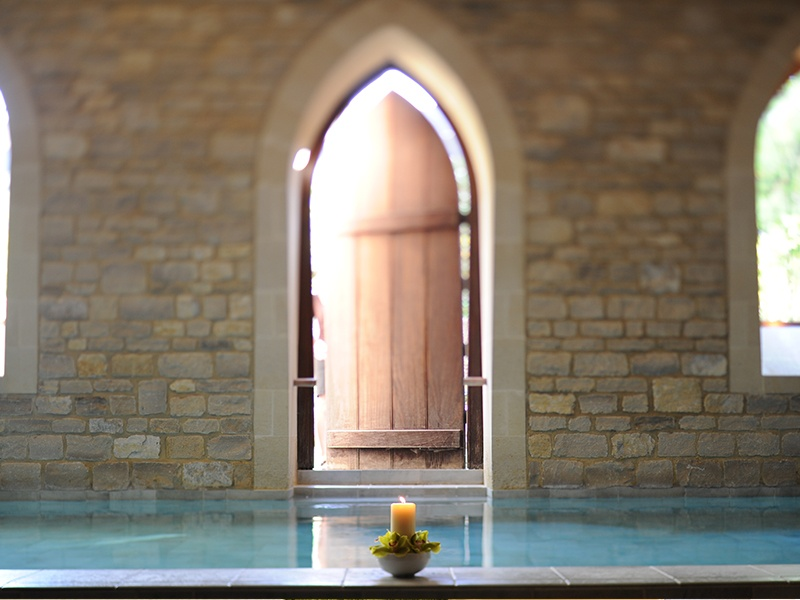 The 12m heated relaxation pool in the Royal Crescent Hotel & Spa retains its historic charm with its distinctive Bath stonework.