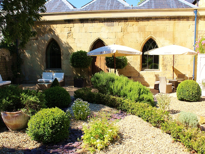 The tranquil Taittinger Spa Garden, where guests can enjoy some post-treatment refreshments. All photographs courtesy of The Royal Crescent Hotel & Spa