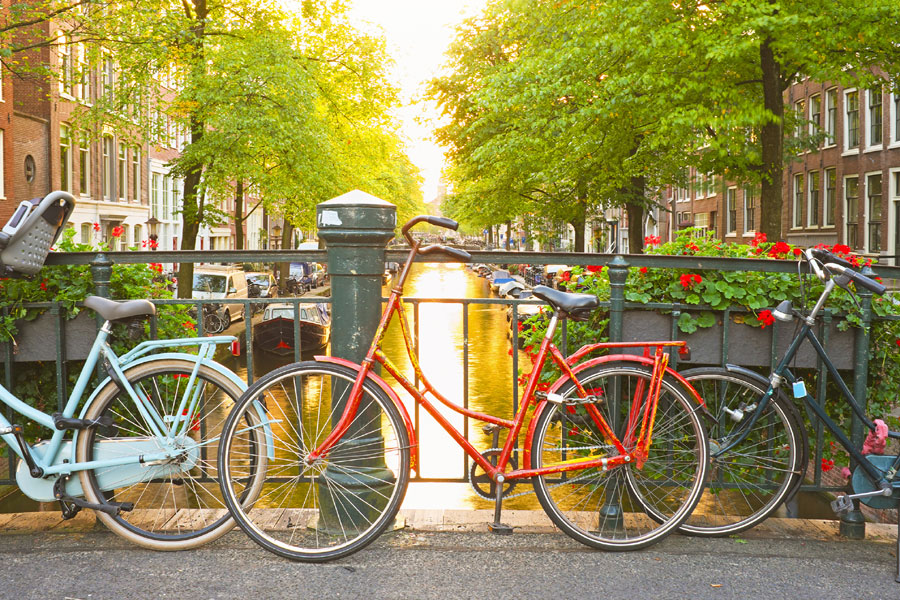 Pedestrians and cars yield for cyclists in Amsterdam, where the ratio of bikes to people is 1:1. Biking around this historic city is a wonderful way to take in its architecture and picturesque canals.