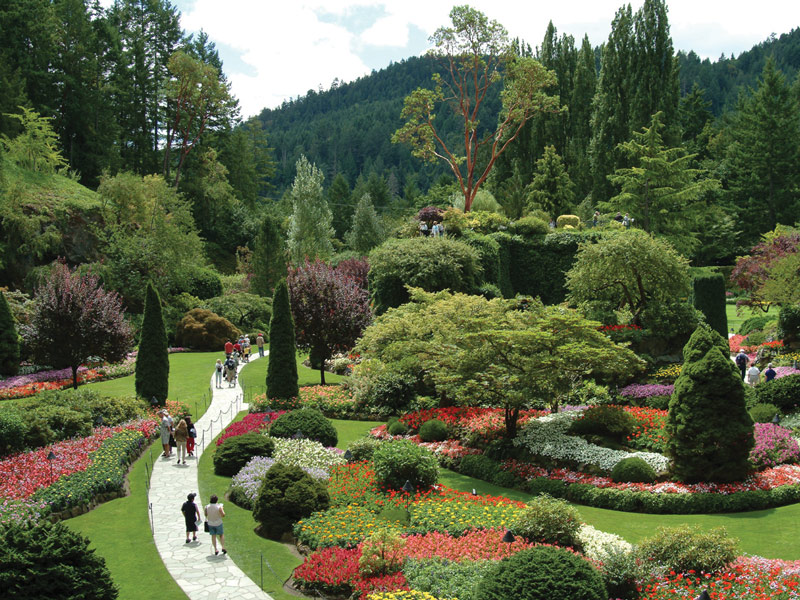 Victoria's world-famous Butchart Gardens were created by Jennie Butchart, who wanted to make something beautiful out of a disused limestone quarry previously used by her husband's cement company.