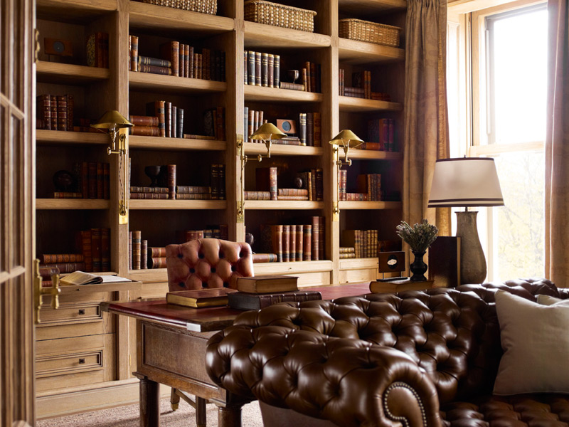 A domestic oak library by renowned building firm Symm. Photograph: S R Gambrel