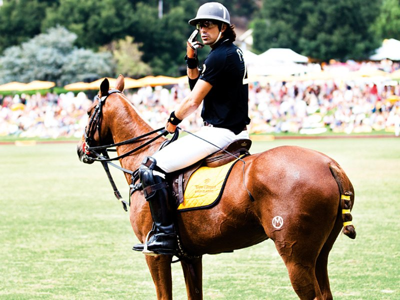 World-renowned polo player Nacho Figueras captains the Black Watch team at the Veuve Cliquot Polo Classic. The celebrated event takes place every October at the Will Rogers State Historic Park in Los Angeles. Photograph: Chris Baldwin