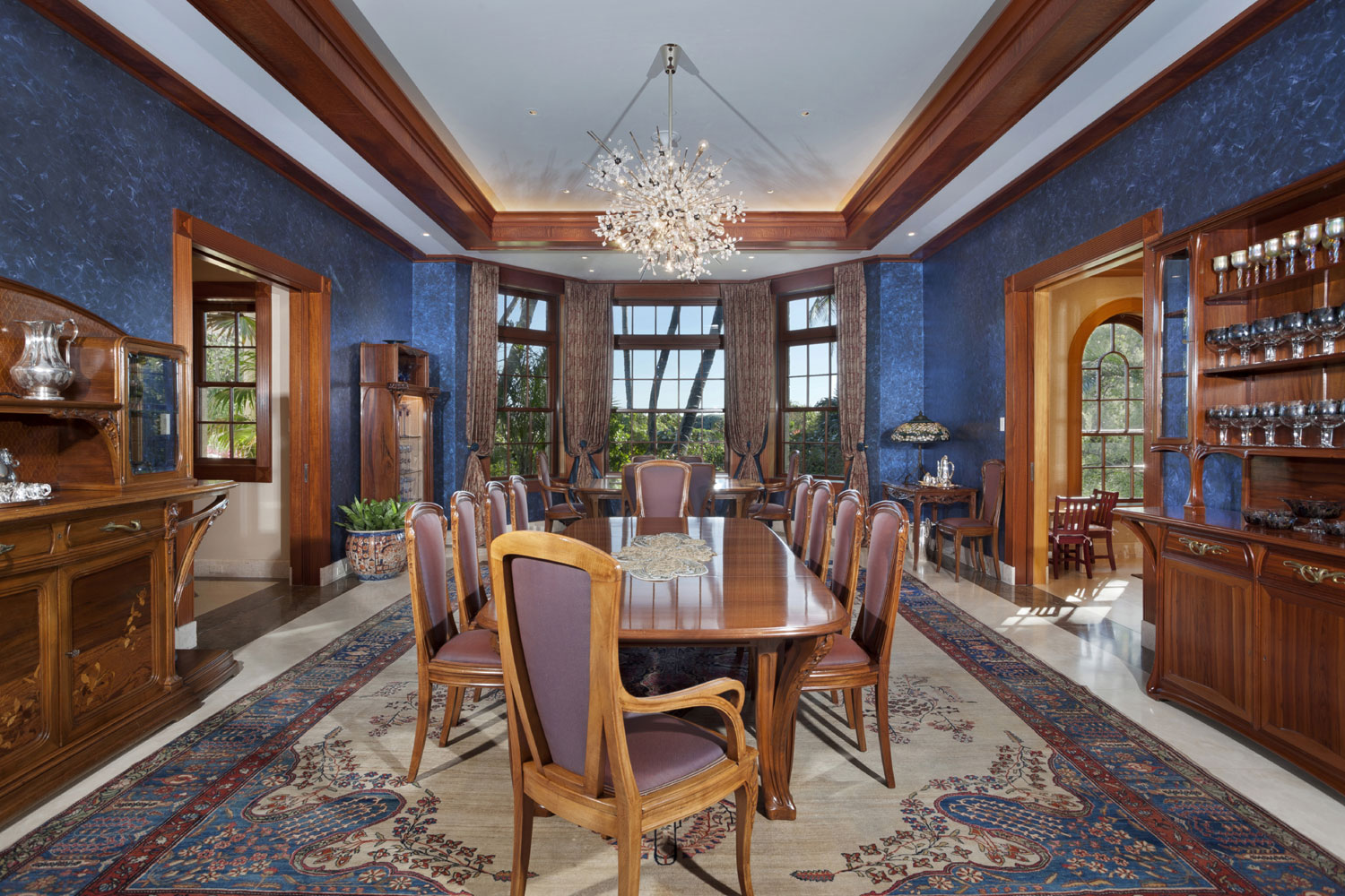 The centerpiece of Gemini estate's incredible lighting is the dining room chandelier; the same fixture as those found in The Metropolitan Opera House.
