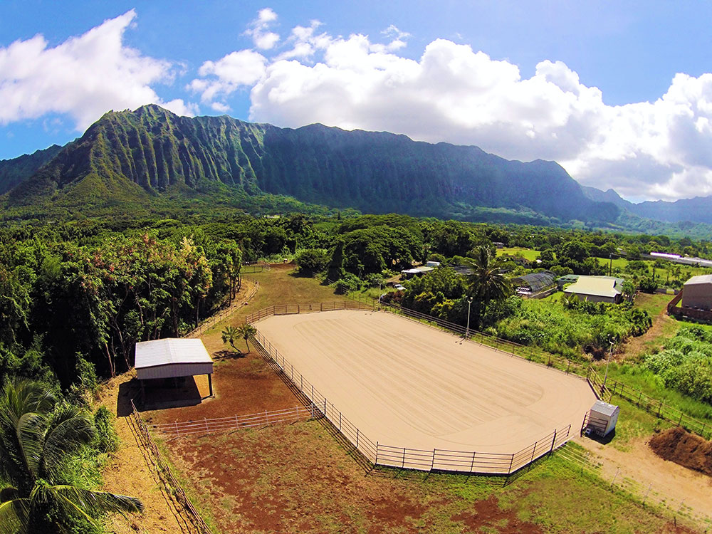 Surrounded by the dramatic ridgeline vistas of the Ko'olau mountain range, this exceptional equestrian estate features six bedrooms and six and a half baths and is set on 3.84 acres.