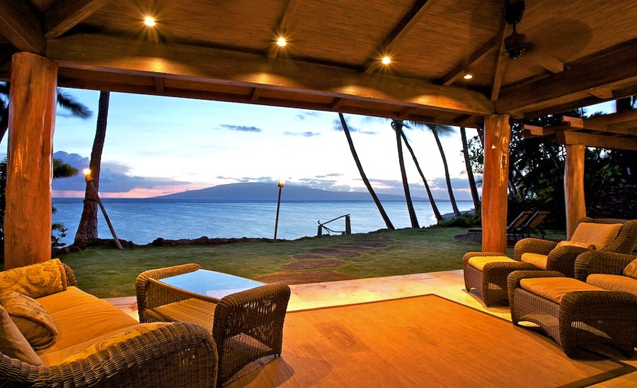 This all-season estate near Lahaina on the island of Maui was renovated and expanded in 2007. It features three bedrooms along with a private beach entrance, pool, waterfall, and brand new chef's kitchen.