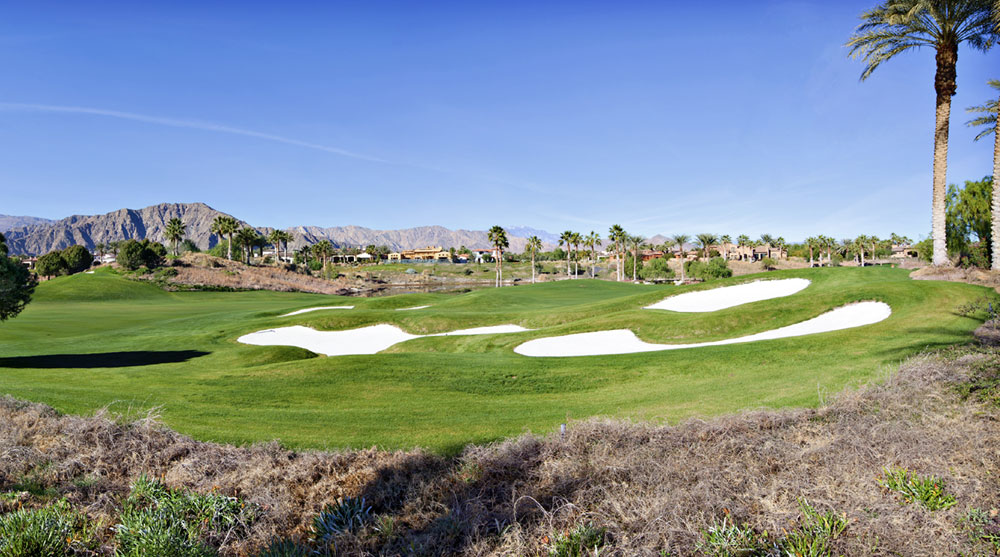 This luxury home faces the 17th hole of the Clive Clark course at the Hideaway Golf Club, near Palm Desert, California. The club features two par-72, 18-hole courses; one designed by British architect Clive Clark and the other by the legendary American golfer Pete Dye.