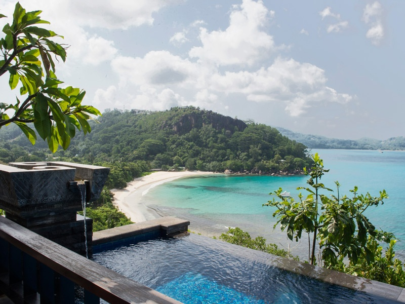 """Relax in serene privacy after a day spent trekking through Mahé Island's rainforest in search of the indigenous Jellyfish Tree or a helicopter trip to nearby island La Digue to see a family of giant tortoises. MAIA's """"Collection of Emotions"""" activities also includes day cruises aboard a luxury yacht and a trip to the local market accompanied by a MAIA chef."""