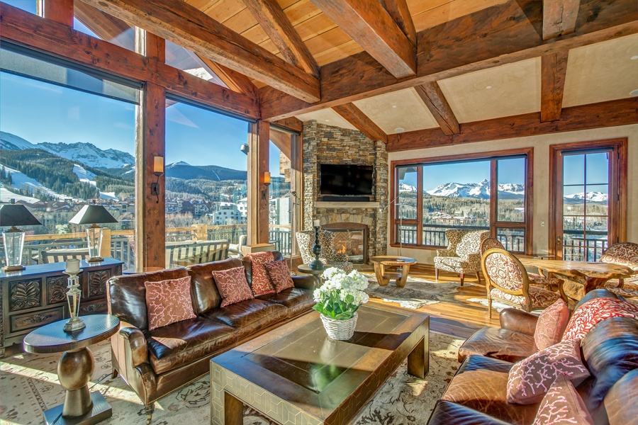The finest Penthouse in Mountain Village is available for sale. With wide views to the Wilsons and the ski area, this See Forever condo has it all with the finest of finishes, luxury appliances and furniture.