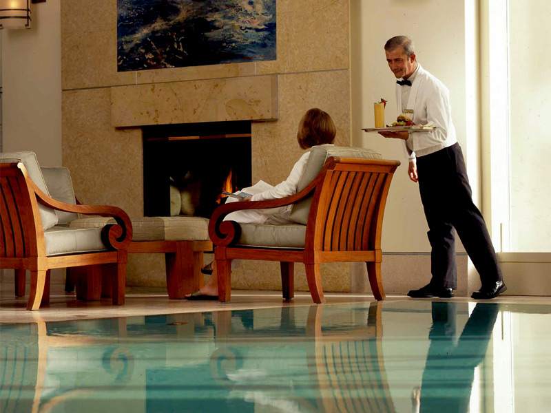 Pool-side service is all part of the package at the Nob Hill Spa in San Francisco.