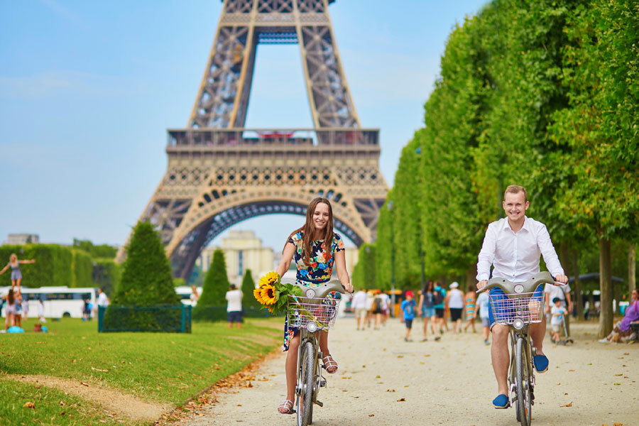 """Paris was an early adopter of bike sharing, launching its first program nearly 15 years ago. Today, the """"Vélib"""" (short for """"Vélos en libra-service"""") has docking stations at major cultural attractions across the city."""