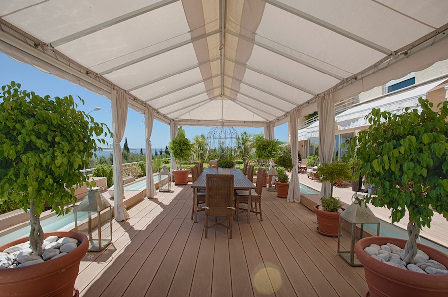 Enjoy deck-top dining and a water view on the Iberian Peninsula.