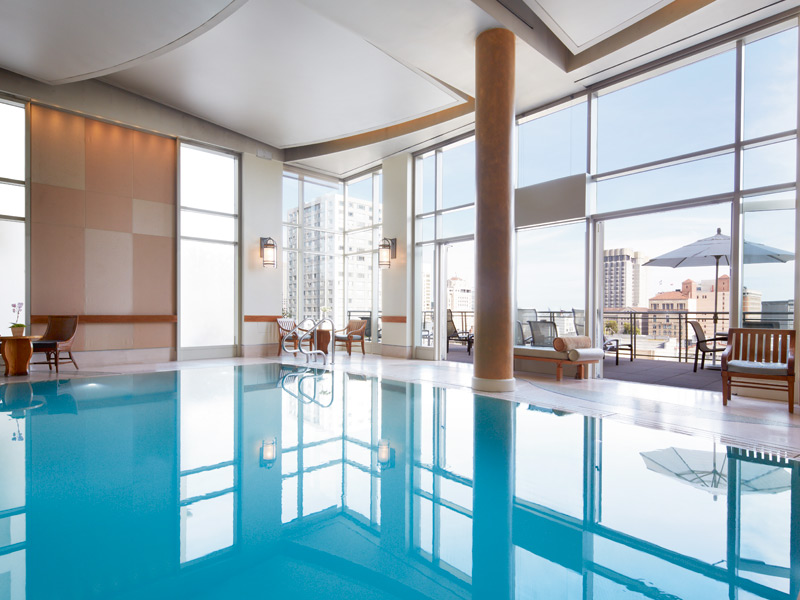 """Named by the San Francisco Chronicle as """"one of the most luxurious spaces in the city,"""" the Nob Hill Spa at the Scarlet Huntington features a eucalyptus steam room as part of a menu of luxurious treatments."""