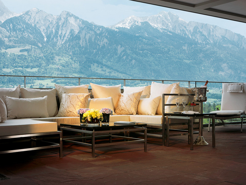 Banner image: The relaxing thermal spa garden pool at Grand Hotel Quellenhof in Switzerland's Grand Resort Bad Ragaz complex. Above: The Balkon Lounge in the Grand Hotel Quellenhof enjoys picture-perfect views over the alpine wilderness. Photograph courtesy of Grand Resort Bad Ragaz