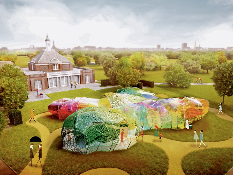 A day view of the translucent Serpentine Pavilion designed by SelgasCano 2015. External indicative CGI courtesy of Steven Kevin Howson/SelgasCano