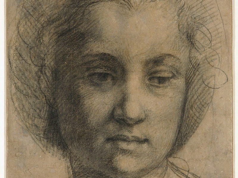 Andrea del Sarto (Italian, 1486-1530), Head Of A Young Woman, Full Face, c.1517. Black Chalk. Fondation Custodia, Collection Frits Lugt, Paris