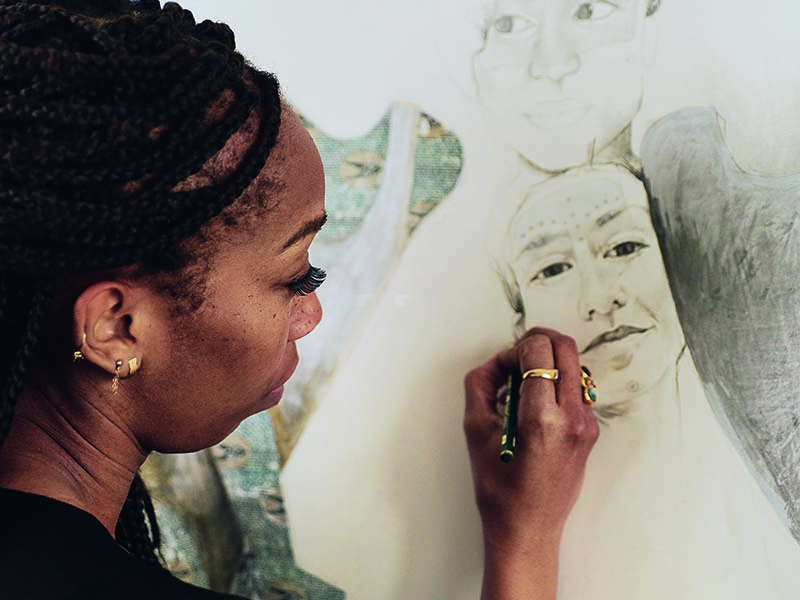 ruby onyinyechi amanze primarily works on paper, exploring the themes of cultural hybriditiy and self-discovery in her works. Photograph: Laura Barosonizi