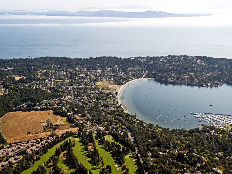 An aerial view of Uplands Golf Club and Cadboro Bay. Image: Shutterstock